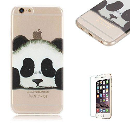 Cover Per iphone 6 Plus/6S Plus Silicone Custodia Morbido Originale Trasparente con Disegno Cavallo Gelato,Funyye Sottile Leggero Flessibile Antiurto Antiscivolo Cristallo Chiaro Gel Gomma Protettivo  Panda