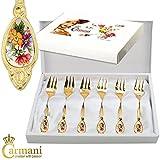 CARMANI - Set aus 6 Dessertgabel mit Blumen in der Geschenk-Box dekoriert