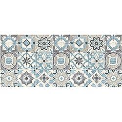 Alfombra Vinilo pasillera, Azul, 50 x 120 x0.2 cm