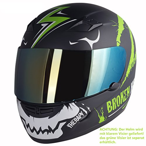 Broken Head Adrenalin Therapy II matt (M 57-58 cm) Motorradhelm - Helm grün - Integralhelm - 6