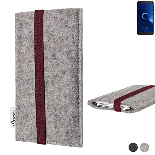 flat.design Handy Hülle Coimbra für Alcatel 1C Single SIM - Schutz Case Tasche Filz Made in Germany hellgrau Bordeaux