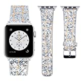 Apple Watch Armband 38mm, MEFEO Leder iWatch Band Extrem Deluxe Glänzend Luxus Glitzer Diamant Leder Armband für Apple Watch Series 1, Series 2, Series 3 Sport Edition (Silber-38mm)