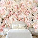 YUANLINGWEI Wandbild Tapete 3D Fototapete Romantische Wandmalereien Moderne Rosa Rose Schlafzimmer Hochzeit Zimmer Tv Wandmalereien Tapete Für Wände,230Cm (H) X 310Cm (W)