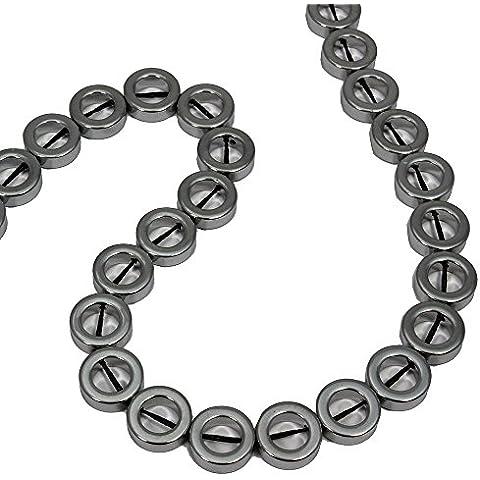 Granos del hematites - 1 cadena de 12 mm de anillo redondo de los granos - chapado en plata de