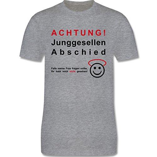 JGA Junggesellenabschied - Achtung Junggesellenabschied - Herren Premium T-Shirt Grau Meliert