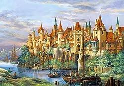 Unbekannt Puzzle 3000 Teile - Stadt Rothenburg - Gemälde Bild Zeichnung Szene / City of - Deutschland Mittelalter gezeichnet