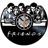 EVEVO Amigos Serie Friends Reloj de Pared Vinilo Tocadiscos Retro de Reloj  Grande Relojes Style habitación 111ec4d0727
