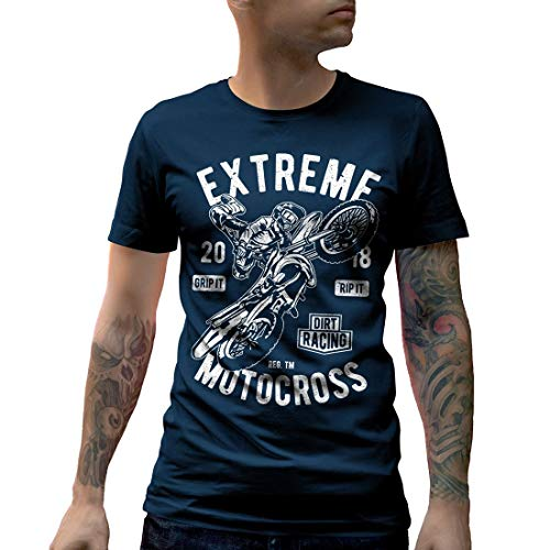 Dirt Track Racing T-shirts (A651MCNTN Herren T-Shirt Extreme Motocross Motorcycles Dirt Track Caferacer Race Racing Custom Engine Speed Ride Fast Or Die Last Cafe(XX-Large,Navy))