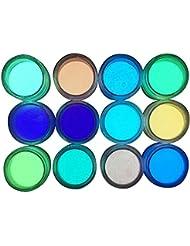 Igemy 12pcs brillent dans le noir vernis à ongles Poudre Sable fluorescent lumineux Neon Pigment Nail Art
