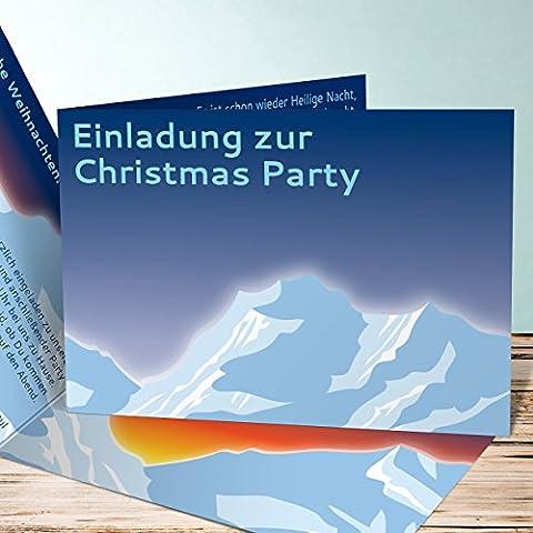 Weihnachtsfeier Einladungen, Alpen 80 Karten, Horizontale Klappkarte 148x105 inkl. weiße Umschläge, Blau