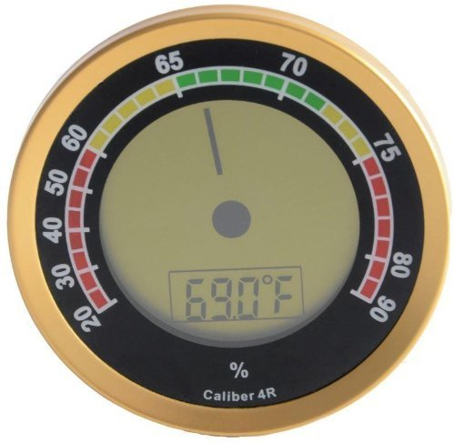 Cigar Oasis Digitalanzeige und analoges Hygrometer Gold