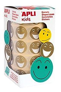 APLI Kids - Rollo de gomets redondos, adhesivo removible, cara feliz, 20 mm, dorados