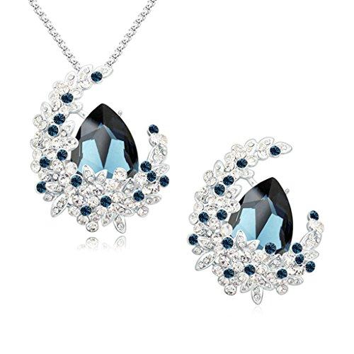 Aooaz Femmes Alliage Bijoux Parures Fleur Goutte Cristal Personnalité Broche Pendentif Collier Banquet Engagement Noir Bleu