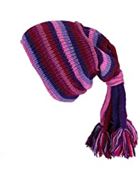 SLOUCH BEANIE HIPPIE TASSEL HAT Wool Knit Fleece Lined PINK & PURPLE STRIPE