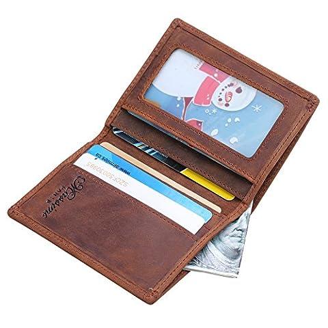 Win&Income Genuine Leather Money Clip Wallet Slim Wallet Credit Card Holder,Brown