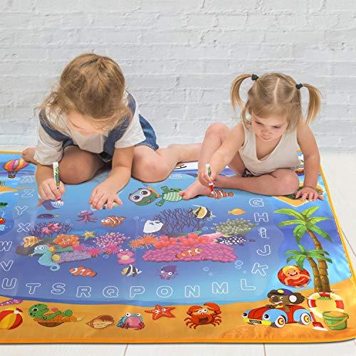 Lujex Wasser Doodle Matte, 100x70cm Aqua Magic Doodle Matte, Drawing Painting Mat Wiederverwendbare Wasser Zeichnen Matte - Pädagogisches Geschenk für Kinder Baby Mädchen (100 x 70 cm) -