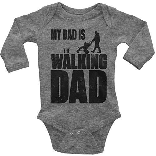 Mikalino Babybody mit Spruch für Jungen Mädchen Unisex Langarm My Dad is The Walking Dad | handbedruckt in Deutschland | Handmade with Love, Farbe:Heather, Grösse:80 (Walking Dead Baby Kostüm)