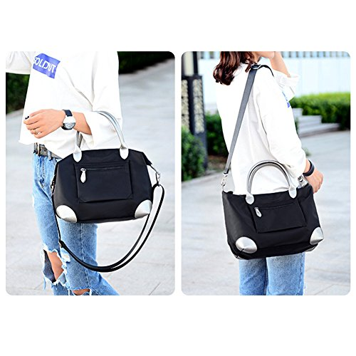 Imagen de vbiger bolso de hombro bolso de moda bolso de mano bandolera  de tela oxford para mujeres negro  alternativa