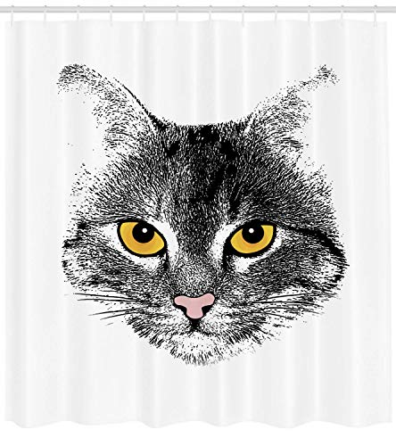 ZMYGH Cat Shower Curtain, Grunge Background with Stylized Cat Face Hairy Sketch Animal Drawing Effect, Fabric Bathroom Decor Set with Hooks, 60 X 72inch, Mustard Black White
