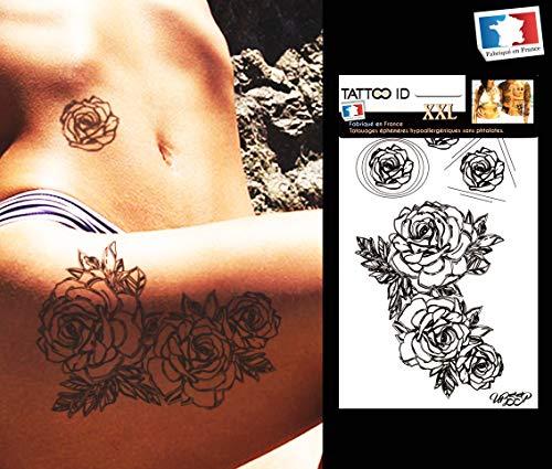 Tattoo ID XXL Tattoo Rosenmotiv, temporär, hypoallergen, hergestellt in Frankreich, 1 Bogen à 22cm x 14,5cm, für Damen und Herren (Fake Arm Haar Kostüm)