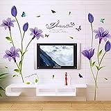 WandSticker4U- XL Wandsticker Blumen Lilien in lila | Wandbild: 160x85 cm | Wandtattoo Lliy Blüten Pflanzen Garten Wandaufkleber Deko für Wohnzimmer, Schlafzimmer, Küche, Garderobe, Flur