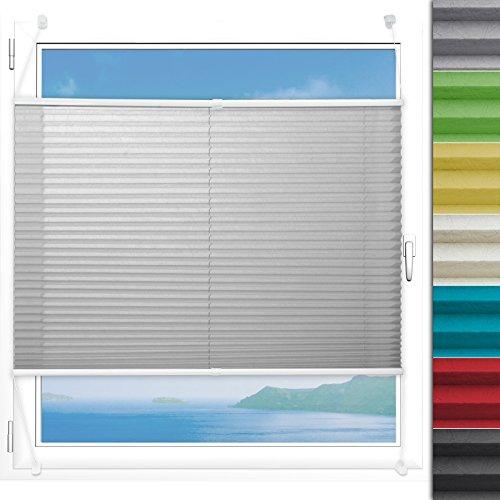 Plissee Rollo Magic | moderner Sichtschutz mit Crushed Optik | Fensterrollo mit Klemmfix ohne Bohren | Klemmrollo in verschiedenen Farben und Größen (Helles Grau - 120 cm breit und 150 cm lang)