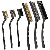 Amariver - 6 cepillos limpios de arañazos, alambre de acero inoxidable, alambre de latón, nailon, cepillos de alambre para limpiar la bandera de soldadura y el óxido (7 y 9 pulgadas)