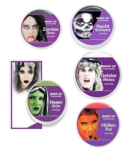 KarnevalsTeufel Theaterschminke Make UP Horror, (Hexen Grün)