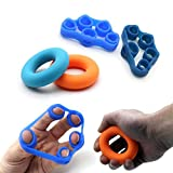 Povad Fingertrainer Handtrainer Set, Unterarm Trainingsgerät Fingertrainer Klettern Strengthener Gummi Ring Silikon Gummiring Leicht Finger Extensor Stretcher, Handtrainer Fingertrainer Set