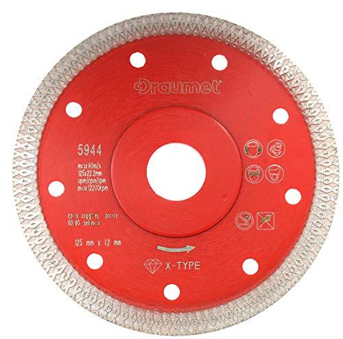 Diamant Trennscheibe 125mm x 22,23mm X-Type Segment Diamantscheibe zum schneiden von Naturstein Keramik Fliesen Beton und Feinsteinzeug für Winkelschleifer 125 mm Fliesenschneider