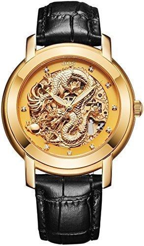Angela Bos - Reloj mecánico para hombres, diseño de dragón chino, resistente al agua, correa de piel negra, color dorado