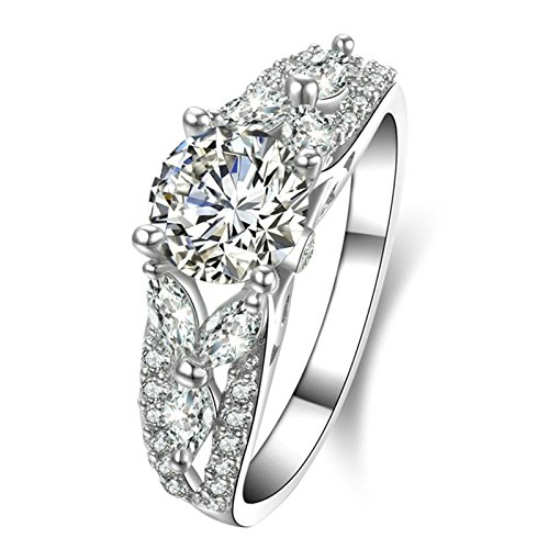 (Custom Ringe)Adisaer Ring Silber 925 Damen Cluster Kristall Vier Klaue CZ Blätter Verlobungsring Größe 50 (15.9) Kostenlos (Cent 50 En Kostüm)