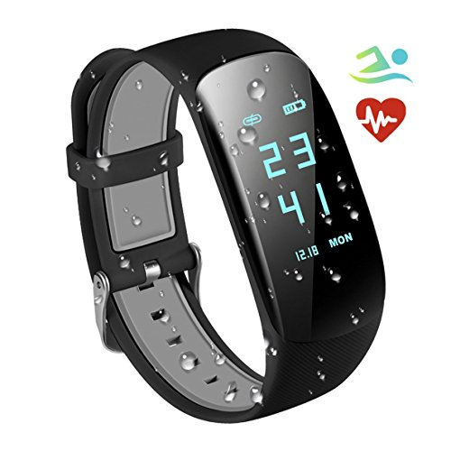 Fitness Trackers IP67 Waterproof with Heart Rate Monitor,Smart Fitness Bracelet Sport Pedometer Auto Activity Tracker, Step Tracker, Calorie Counter, Sleep Monitor for iOS Android Smart Phone (Black)