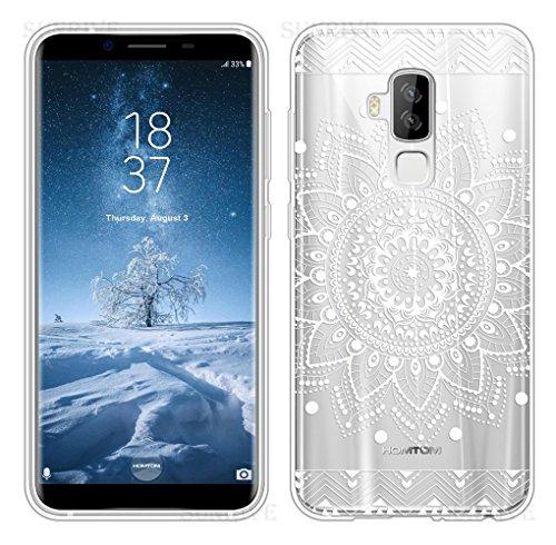Sunrive Für HOMTOM S8 Hülle Silikon, Transparent Handyhülle Schutzhülle Etui Case Backcover für HOMTOM S8(TPU Blume Weiße)+Gratis Universal Eingabestift