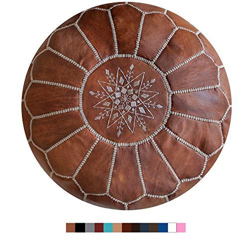 Marokkanischer Echtleder Pouf - Cognac Braun - Handgefertigt - gefüllt geliefert - Ottoman Sitzsack Fußhocker ...