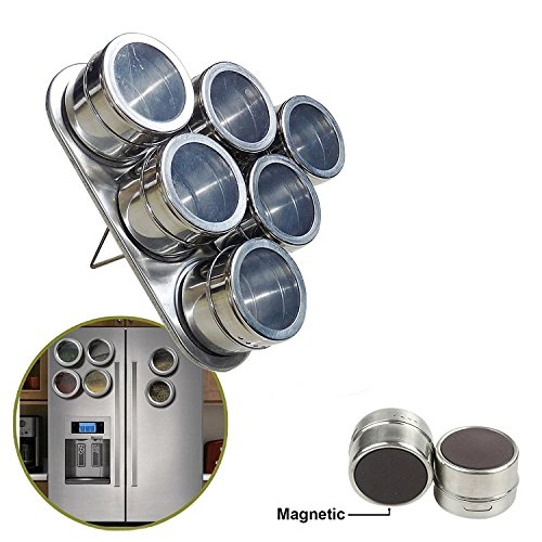 Styleys Stainless Steel Magnetic Spice Rack Spice Set (6 pcs)
