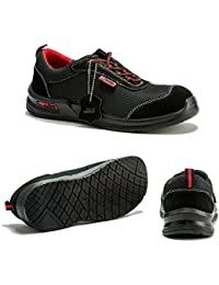 Botas Para Hombre De Seguridad Puntera De Acero Zapatos De Trabajo Tobillo Suela De Protección Media Unisex-adulto S1P CE aprobado 4482 Black Hammer