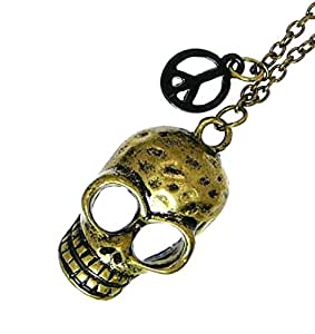 Brushed Gold Colour Metal Skull Pendant with Peace Sign Pendant on Adjustable Metal Chain - Gift Boxed