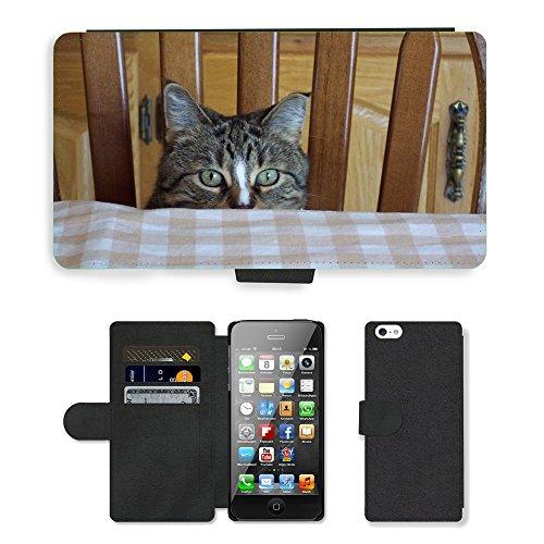 PU Flip Carcasa Funda de Cuero Piel Cubre Case // M00115549 Occhi di gatto Feline Tabby Peek Boo // Apple iPhone 5 5S 5G