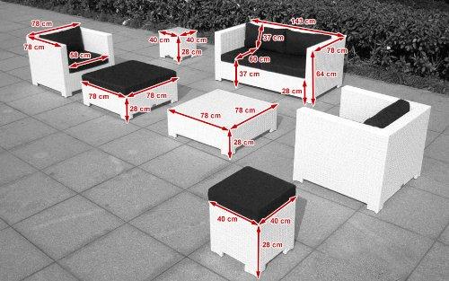 Baidani Gartenmöbel-Sets 10c00034 Designer Lounge Sunrise, 2-er Sofa, 2 Sessel, 2 Hocker, 1 Couchtisch, Beistelltisch mit Glasplatte, weiß - 5