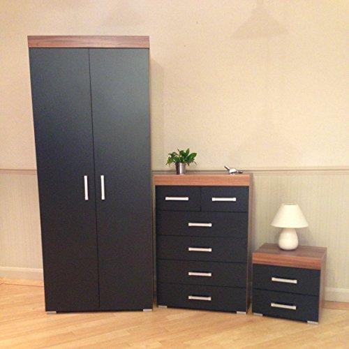 3 piece black walnut bedroom furniture set wardrobe 4 - Walnut bedroom furniture sets uk ...
