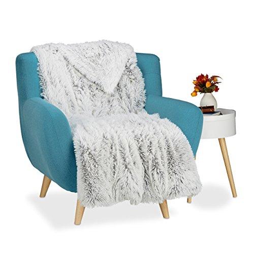 Relaxdays Couverture fausse fourrure moelleux plaid canapé doux salon jetée de lit dessus de lit, lxP 220x240 cm, blanc gris