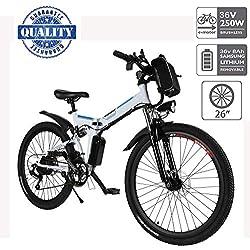 """Hiriyt Vélo Electrique 26"""" E-Bike - VTT Pliant 36V 250W Batterie au Lithium de Grande Capacité - Ville léger Vélo de avec moyeu Shimano 21 Vitesses (Blanc, 26 Pouces)"""