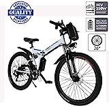 Hiriyt Vélo Electrique 26' E-Bike - VTT Pliant 36V 250W Batterie au Lithium de Grande Capacité - Ville léger Vélo de avec moyeu Shimano 21 Vitesses (Blanc, 26 Pouces)