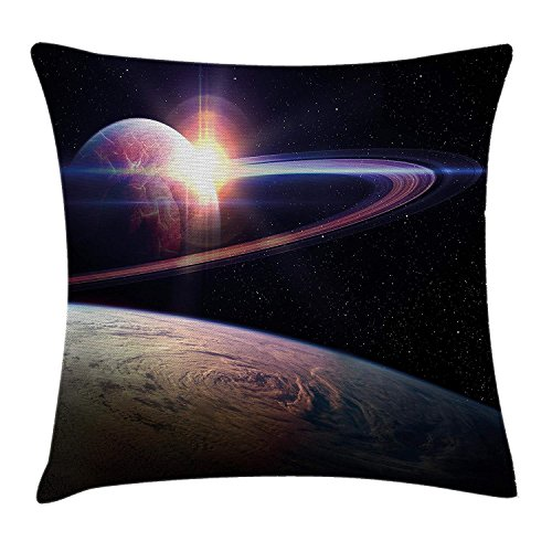 DPASIi Galaxy Throw Pillow Cushion Cover, Sunset in Outer Space Universe Saturn View from Planet Earth Atmosphere in Spaceship, Decorative Square Accent Pillow Case,Black Blue 16x16inch