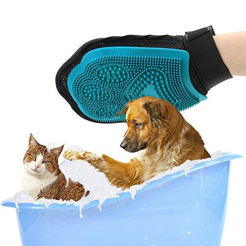 Poppypet Fellpflegehandschuh Bürste für Hunde, Fellpflege Hundebürste mit Gummi Noppen,Shampoo Bürste Massagehandschuh, Entfernt lose Haare, massiert Ihren Hund