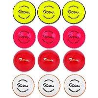 Kosma - Juego de 12 pelotas de críquet de viento para entrenamiento, deportivas y al aire libre, en una bolsa de transporte de malla (3 unidades cada una), color amarillo brillante con costura negra, rosa con costura blanca, blanco con costura naranja.
