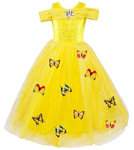 Le SSara Weihnachtsmädchen Prinzessin Cosplay Kostüm Fancy Schmetterling Kleid (130, B-gelb)