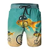 Funny Fish on The Bike Mens Fashion Surf Board Beach Home Shorts Swim-Trunks Quick Dry with Pocket - M
