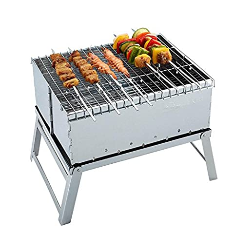 Mini Outdoor-faltbare Grill Grill Grill Grill Holzkohle BBQ brennenden Edelstahlofen Oxford-Beutel senden , 40.4x26.5x29